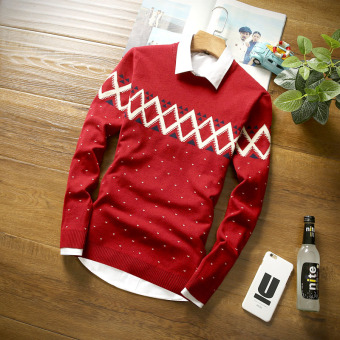 Stylish Teenager men's knitted sweater (Red)