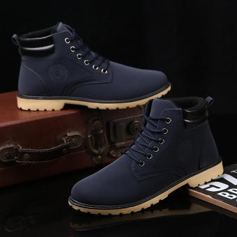 Stylish winter to help hight-top men boots Dr. Martens (Blue Two cotton)