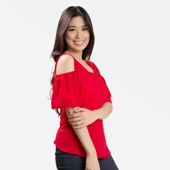 Sugar & Lime Demeter Women's Casual Fashion Georgette Loose Off Shoulder Blouse Top (Red) - 2