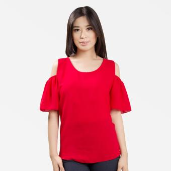 Sugar & Lime Demeter Women's Casual Fashion Georgette Loose Off Shoulder Blouse Top (Red)