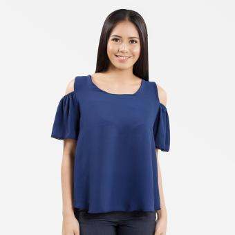 Sugar & Lime Demeter Women's Casual Fashion Georgette Loose Off Shoulder Blouse Top (Royal Blue)