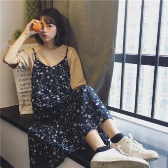 Suihua Korean-style mid-length chiffon dress Dungaree dress