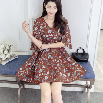 Suihua Korean-style New style slimming Bell sleeve expandable skirt printed chiffon dress (Wine red color)