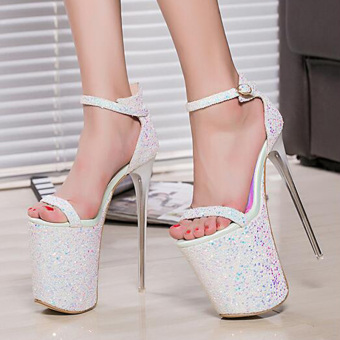 Summer 20cm Sexy Thin Heels Women Sandals High Heels Women Shoessize 34-43 (White)