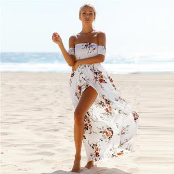 Summer Boho Women Maxi Dress Slash Neck Strapless Floral Print Cut Out Pink/White - intl