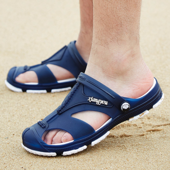 Summer breathable slippers porous shoes (Blue)