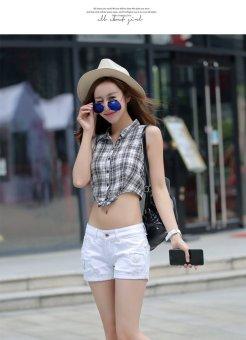 Summer Denim Shorts Female Korean Slim Ladies White Lipped Denim Shorts (white) - 4