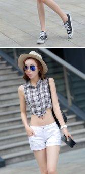 Summer Denim Shorts Female Korean Slim Ladies White Lipped Denim Shorts (white) - 5