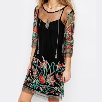 Summer Dress 2017 Boho Women Floral Embroidery Lace Mesh Dress 3/4Sleeve Mini Dresses Casual See Through Vestidos Plus Size - intl