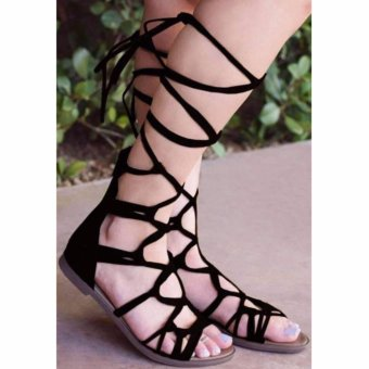 Summer Fashion Women Leg Wrap Lace up Gladiator Sandals(Black) - intl