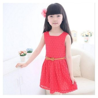Summer Girls Kids Sleeveless Lace Vest Dress with Belts (Red) - -Intl - 5