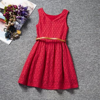 Summer Girls Kids Sleeveless Lace Vest Dress with Belts (Red) - -Intl - 2