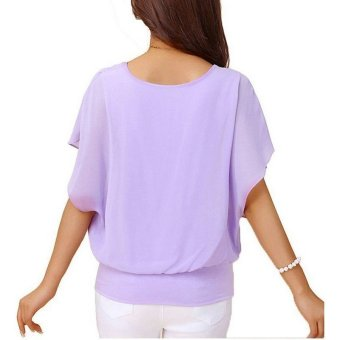 Summer Loose Casual Batwing Sleeve Chiffon Top (Violet) - 3