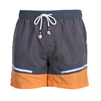 Summer Men Casual Joint Bandage Multipockets Beach Shorts (Grey)(M)- Intl