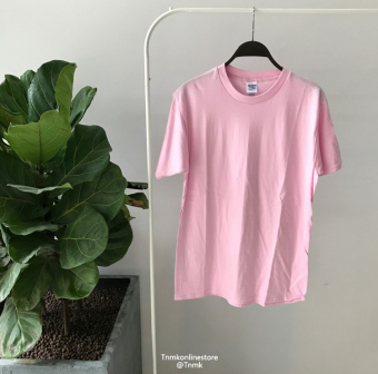 Summer men's solid color short sleeved t-shirt (Pink)