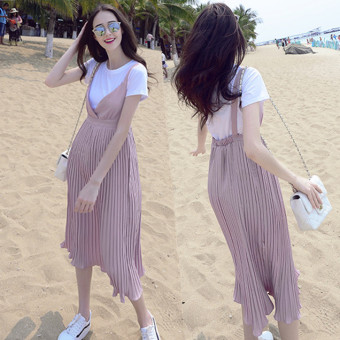Summer New style Korean-style pregnant women's dress (Dungaree dress + T-shirt)