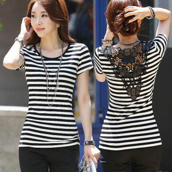 Summer Plus-sized Slim fit striped T-shirt