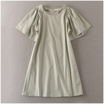 Summer round neck medium-length dress (Lvqun)