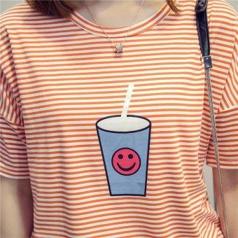 Summer short sleeve striped women printed t-shirt - intl - 4