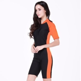Summer Short Sleeve Swimwear One Piece Swimsuit For Women (Orange)
