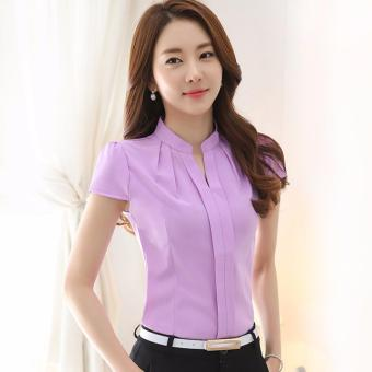 Summer Slim women chiffon shirt Elegant Solid color Short Sleevewomen tops Plus size Chiffon blouses ( Purple ) - intl