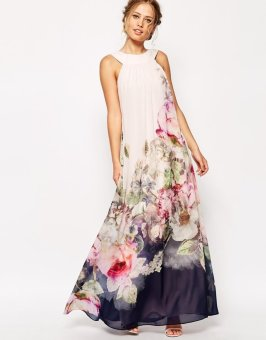 Summer Style Floral Print Maxi Dresses Women Beach Club Casual Loose Chiffon Sleeveless O-neck Evening Long Dress Plus Size L1072 - Intl