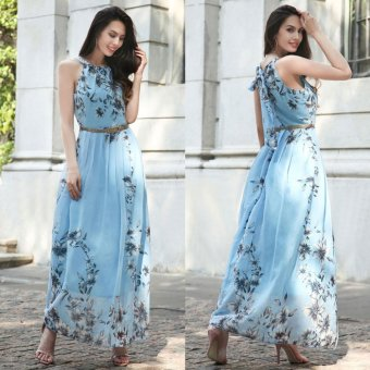 Summer Style Women New Fashion Long Maxi Dress O Neck Floral Print Sleeveless Evening Party Elegant Casual Party Dresses With Belt Blue - intl