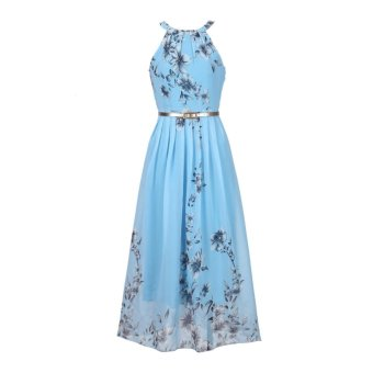 Summer Style Women New Fashion Long Maxi Dress O Neck Floral Print Sleeveless Evening Party Elegant Casual Party Dresses With Belt Blue - intl - 5