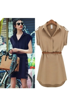 Summer Turn-down Collar Short Sleeves Women's Loose Chiffon Dress - Size XL Khaki - picture 2
