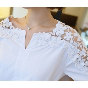 Summer Women Lace Blouses 2017 Fashion Woman Lace Shirt Hollow Out Casual Short Sleeve Women Shirts Tops (white) - intl - 2