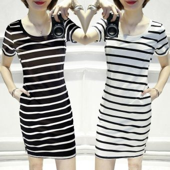 Summer women stripe casual short sleeve mini dress - intl