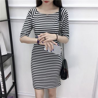 Summer women stripe mini dress - intl