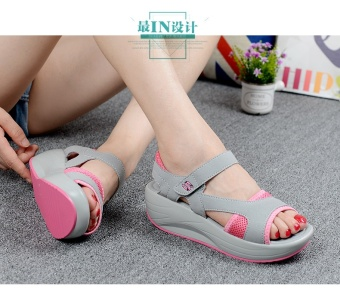 Summer Women's Sandals Casual Sport Mesh Breathable Shoes WomenLadies Wedges Sandals Shake Platform Sandals Red - intl