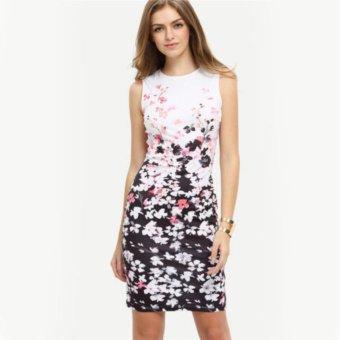 Summer Womens Sleeveless Floral Ladies Evening Party Pencil Bodycon Dress - intl