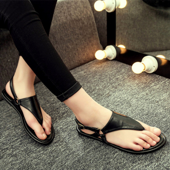 Sunny color2017 casual women's non-slip flat heel gladiator sandals flip-flop flat sandals (QSL-P-001 black)