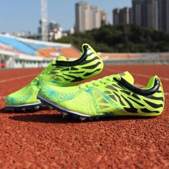 Sunshine Track Sports Running Shoes Spike Spikes Athletics Training Shoes Lelaki Berjalan Kasut - Green - intl - 4