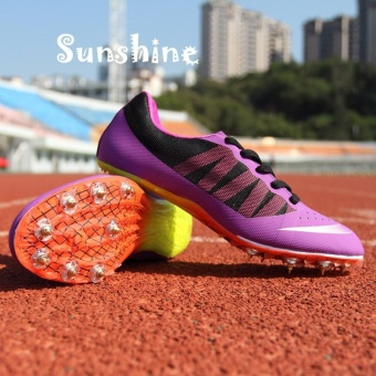 Sunshine Track Sports Running Shoes Spike Spikes Athletics Training Shoes Lelaki Berjalan Kasut - Purple - intl