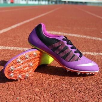 Sunshine Track Sports Running Shoes Spike Spikes Athletics Training Shoes Lelaki Berjalan Kasut - Purple - intl - 3