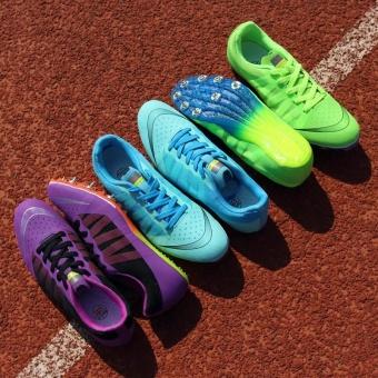 Sunshine Track Sports Running Shoes Spike Spikes Athletics Training Shoes Lelaki Berjalan Kasut - Purple - intl - 4