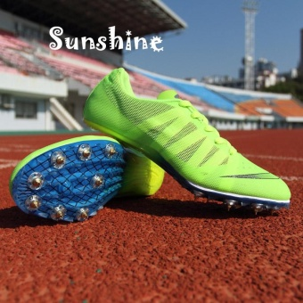 Sunshine Track Sports Running Shoes Spike Spikes Athletics TrainingShoes Lelaki Berjalan Kasut -Fluorescent Green - intl