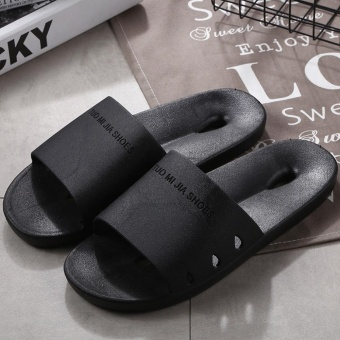 Sunshop New Fashion Women Men Slippers Flat House Slippers CasualBeach Sandals Soft Shoes ( Black ) - intl