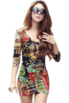 Sunweb Deep V-neck Long Sleeve Flower Print Mini Dress (Multicolor)