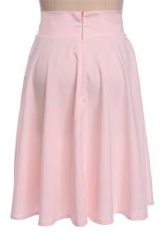 Sunweb High Waist Ladies Women A-Line Pleated Midi Skirt (Pink) - picture 2