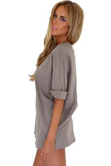 Sunweb Short Sleeve Women Loose Shift Dress ( Grey ) - picture 2