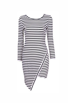 Sunweb Striped Long Sleeve Mini Dress (White)