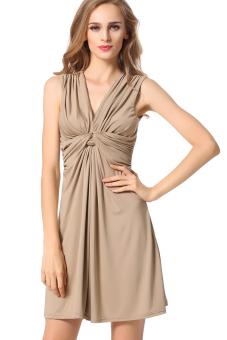 Sunweb Women Pleated Slim Mini Dress Casual (Brown)