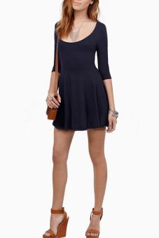Sunweb Women's Half Sleeve O-Neck Backless A-line Dress - Intl