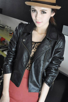 Sunwonder Women Motorcycle Leather Jackets Short Outerwear Coat (Black) - 3