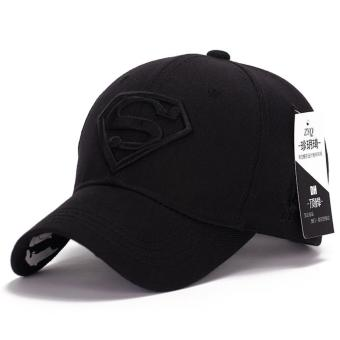 Superman Baseball Cap Hats for Men Women Adjustable S Logo LetterCasual Outdoor Snapback Hat(black&black)