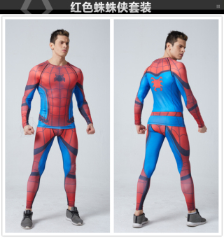 Superman men quick-drying training stretch fitness clothing long-sleeved leotard (Hong blue spider man)